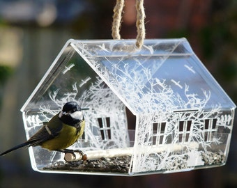 Clear Hanging Bird Feeder, Hanging Bird Feeder, Acrylic Bird Feeder, See-Through Bird Feeder, Clear Bird Feeder, Laser Cut Bird Feeder