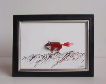 3D stone image painted with oil paint: Red Fox, communications