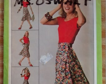 "Uncut Simplicity Jiffy 9749 Sewing Pattern Wrap Skirt - Size 6/8 Waist 23-24"" 1980"