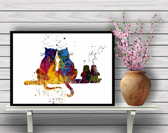 Cats in love, cats on roof, cat print, cat watercolor, cat watercolor poster,cat poster, art, watercolor, animal poster, Instant Download
