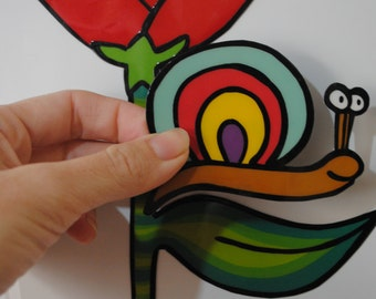 Large Art Magnet, Big Flower and Snail, entirely handmade