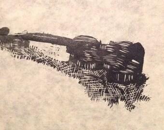 original limited edition linocut print of violin