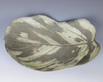 Raku leaf plate #4