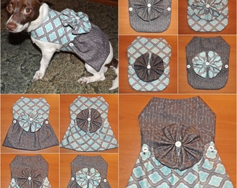 Gray & Aqua Pattern 12-in-1 Pet Outfit