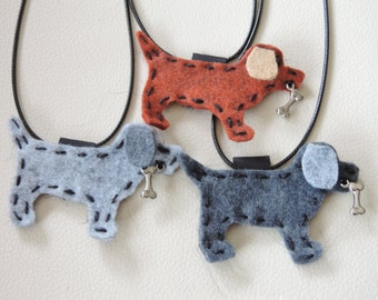Cat or Dog Wool Felt Necklaces with Charm
