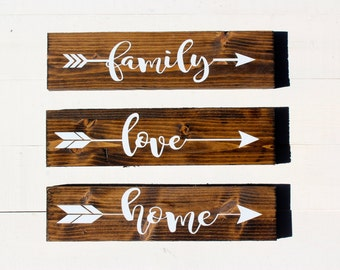Family Arrow Rustic Sign Family Sign Home Rustic Home