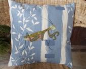 Praying mantis applique cushion/pillow cover // blue background // chintz backing
