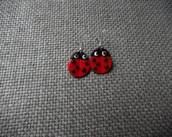 Ladybug fimo earrings