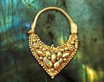 Solid Gold Septum Ring- Tribal Septum- Gold Nose Ring- Septum Clicker- Gold Septum Jewelry- Septum Piercing