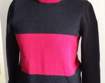 Handmade knitted ladies or gents two tone jumper,