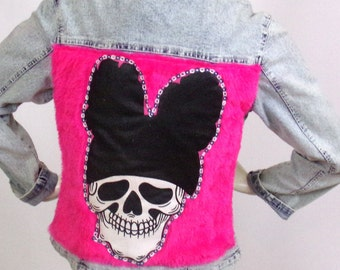 Faded blue denim jacket AS Kustom 4U Theme Skull Brand Valentina 98