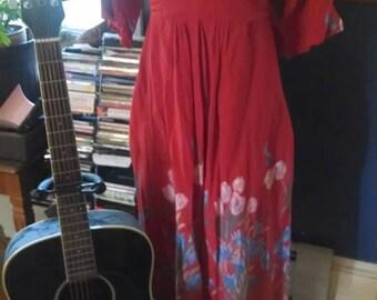 Vintage Robbie Bee Floral Rayon Red Dress!