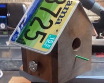 Sparrow and Blue Bird House