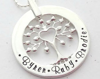 Sterling Silver Family Tree of Love Hand Stamped Personalised Name Necklace