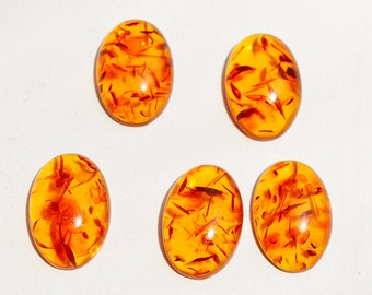 5 Pieces Baltic Amber Cabochon Lot, Gemstone Lot, Amber Lot, Wholesale Lot, Lab Created Amber 22x15 MM SM32
