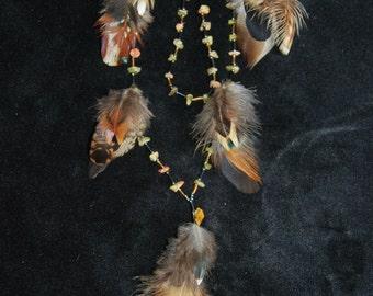 Necklace ethnic necklace - stones semi precious unakite, hematites and natural feathers -.