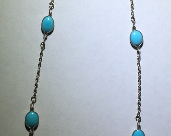 Sterling Silver Twisted Serpentine 16 inch Chain and 6x8 Cabochon Turquoise Double Face Gem Stones