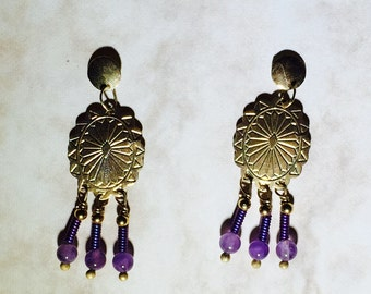 14 Karat Yellow Gold Southwest Concho with Titanium Coils, Amethyst and 14k Beads