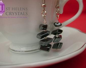 Gemstone Earrings,authentic gemstone chip feminine shepherd's crook earrings