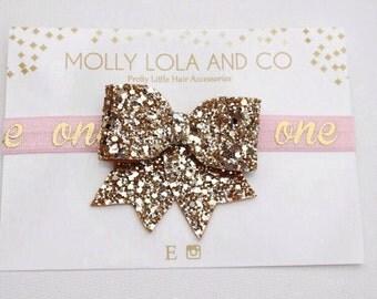 Gold Glitter Hair Bow. Baby Hair Bow -  One Hair Accessory - One - Hair Bow - For Children.