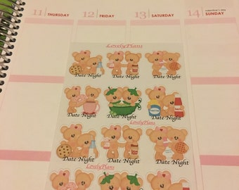 Planner Stickers: Bear Date night Stickers