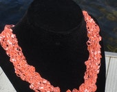 Bright Coral, Necklace, Headband, Statement Necklace, Layered Necklace, Lightweight, Gift, Gift for Her, Summer style