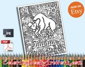 Taurus Zodiac Sign Printable Adult Coloring Book Page instant downloadable JPG PDF trendy instagram quirky sweary words digital