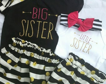 Big Sister, Little Sister, Siblings, New Baby, Pink glitter, Arrow Shirt, Sister, Brother, Growing Family