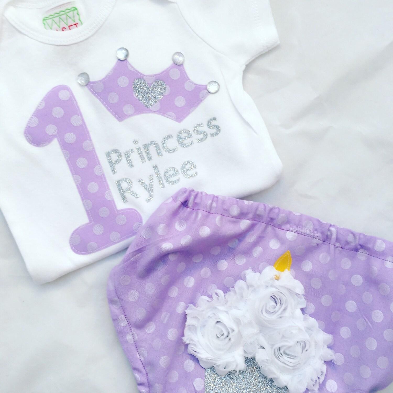Princess First Birthday Set Cupcake Diaper Cover Princess