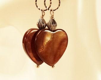 Earrings, Brown Tiger Eye Stones