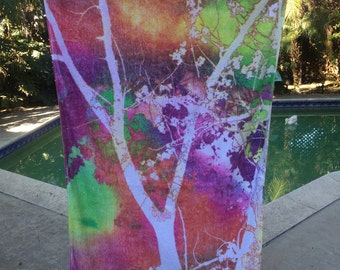 Fresco Towels   Abstract Tree   Beach Towel
