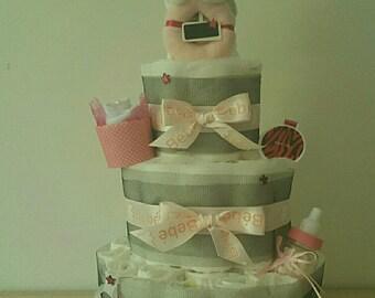 Beautiful cake layer-Diaper cake for girl