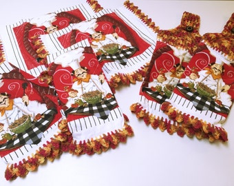 Set of 6 Crochet Chef Kitchen Towels