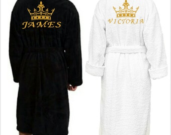Personalised dressing gown, bath robe, customised gift, Gift for her, Gift for him, wedding gift, embroidered name, couples robes