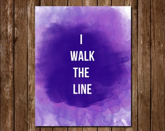 I Walk the Line Johnny Cash Watercolor Printable Instant Download