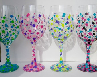 Two Hand Painted Wine Glasses, Polka Dot Wine Glasses, Custom Wine Glass, Personalized Wine Glass, Gift Ideas for Women, Birthday Gift Ideas