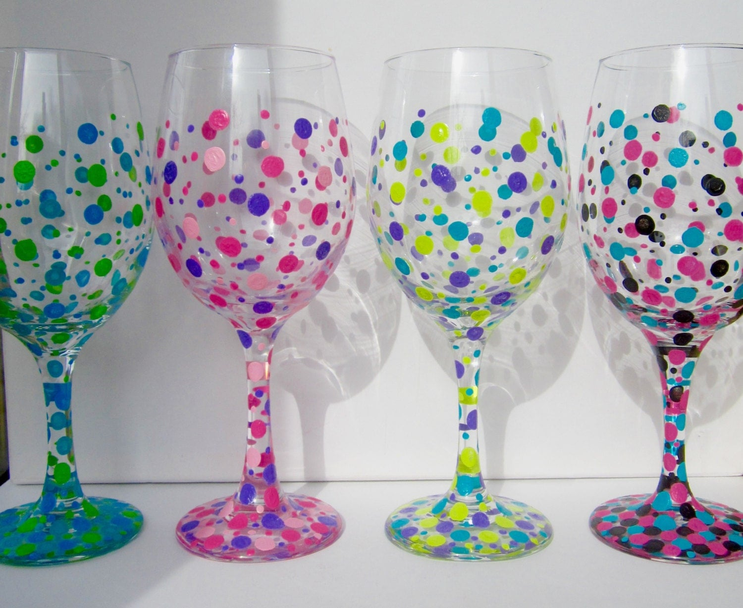 Two hand painted wine glasses polka dot wine glasses custom for Hand designed wine glasses