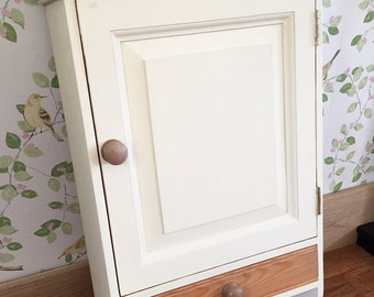 Farmhouse Cupboard, Country Kitchen Hand Painted Wall Hanging Kitchen Cabinet Shabby Chic Unit.