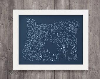 Oregon Waterways Screen Print