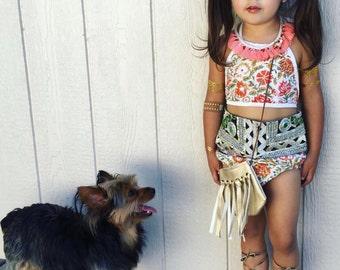 5T, Banjara Bloomer Sets 5-6 Years, Bloomer Crop Top Set, Beachwear, Summer Romper, Bohemian Kids Clothing, Kids Boho Crop Top, Hippie Kids