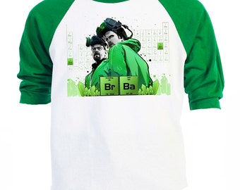 "BREAKING BAD Inspired,""Great Art"" Baseball Raglan T-SHIRTS,,T-936Green"