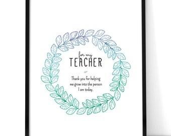 Thank You Teacher Print