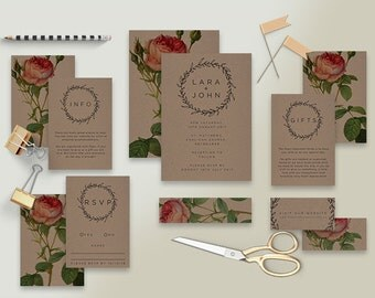 "Printable Wedding Invitation Suite ""Vintage Rose Kraft"" - Printable DIY Invite, Affordable Wedding Invitation"