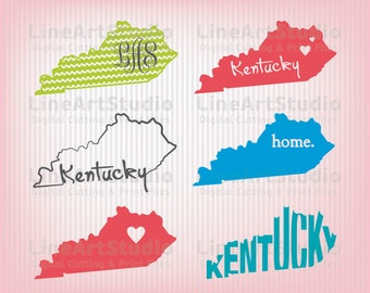 Kentucky SVG Collection State Files - SVG File - Monogram Svg State - American States Svg Files - Svg Silhouette Files - Svg Cricut Files