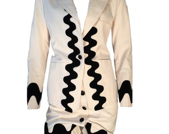 Yves Saint Laurent Rive Gauche Cotton Velvet White Black Skirt Jacket Suit UK 10
