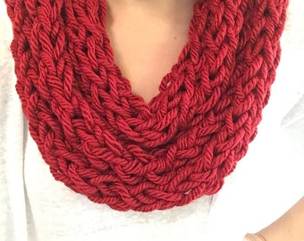 Light scarf, Red scarf, infinity scarf, knit scarf, finger knit scarf, womens scarf, winter scarf, knit infinity scarf, crochet scarf