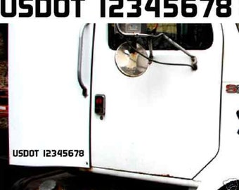 """Two - US DOT # Usdot Vin Numbers left and right side 2"""" Icc Mc Ew GW vinyl Decal Sticker number Id Identification truck semi trailer"""