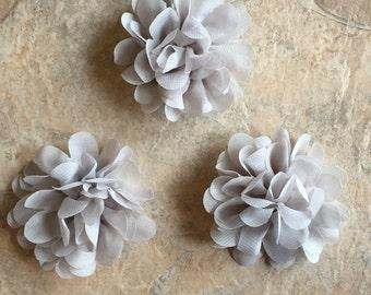 "2.5"" Petite Chiffon Flowers, GRAY, gray flowers, headband flowers, wedding flowers, craft supplies, head band supplies, flowers, diy flowers"