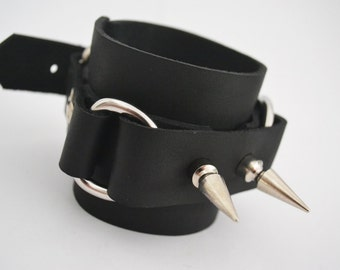 Spiked Leather Double D-Cuffs
