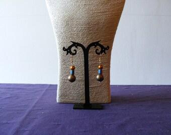 Orange, Blue & Brown Earrings